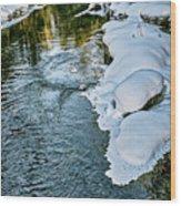 Winter River Reflections - Yellowstone Wood Print