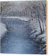 Winter River Wood Print