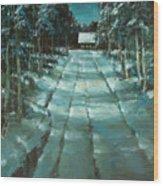 Winter Road In Village Wood Print