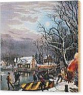 Winter Scene: Evening 1854 Wood Print