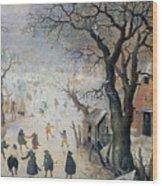 Winter Scene Wood Print by Hendrik Avercamp