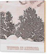 Winter Scene In The Colorado Rockies Wood Print