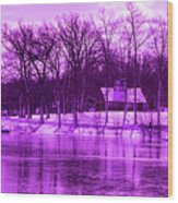 Winter Scene In Violet Wood Print