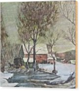 Winter Scene With Horse Wood Print