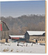 Winter Shed And Barn Wood Print