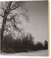 Winter Silo Wood Print