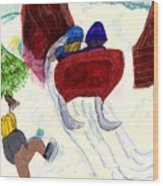 Winter Sleigh Ride Through The Tunnel Wood Print