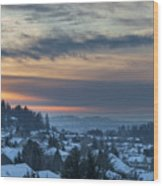 Winter Snow At Sunset In Happy Valley Oregon  Wood Print