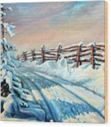 Winter Snow Tracks Wood Print by Hanne Lore Koehler