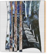 Winter Stairs In Blue Wood Print
