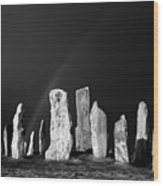 Winter Storm Sky Over Callanish. Outer Hebrides, Scotland.    Black And White Wood Print