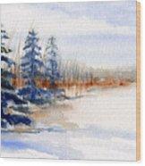 Winter Storm Watercolor Landscape Wood Print