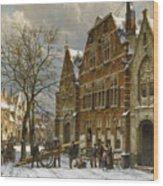 Winter Street Scene. Oudewater Wood Print