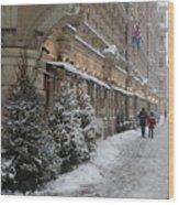 Winter Stroll In Helsinki Wood Print
