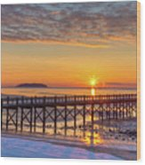 Winter Sunrise At The Beach Wood Print
