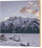 Winter Sunrise Lake Minnewanka Wood Print