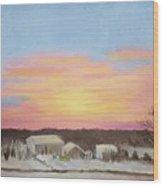 Winter Sunrise On The Farm Wood Print
