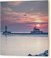 Winter Sunrise Over Canal Park Duluth Mn  Wood Print