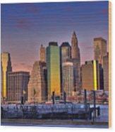 Winter Sunrise Over Downtown Manhattan Wood Print