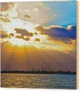 Winter Sunrise Over Miami Beach Wood Print