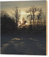 Winter Sunrise Shadows Wood Print