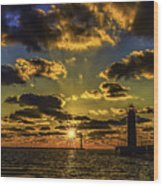 Winter Sunset At Muskegon Channel Light Wood Print