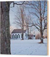 Winter Sunset In New Salem Wood Print by Susan Cole Kelly