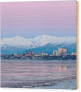 Winter Sunset Over Anchorage, Alaska Wood Print
