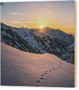 Winter Sunset Over Little Cottonwood Canyon Wood Print