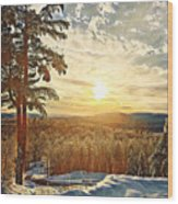 Winter Sunset Over The Mountains Wood Print