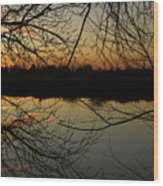Winter Sunset Reflection Wood Print