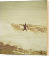 Winter Surfing At Casino Pier Wood Print