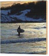 Winter Surfing Wood Print
