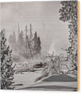 Winter Thermal Steam - Yellowstone Wood Print