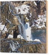Winter Time At The Falls Wood Print