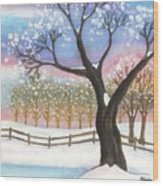 Winter Tree Landscape Wood Print