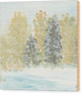 Winter Trees Wood Print by Ken Powers