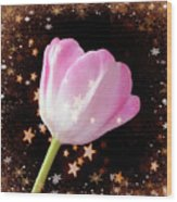 Winter Tulip With Gold Snow And Stars Wood Print