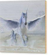 Winter Unicorn Wood Print