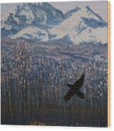 Winter Valley Raven Wood Print