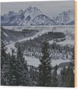 Winter View Of The Snake River, Grand Wood Print