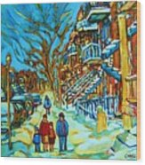 Winter  Walk In The City Wood Print
