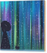Winter Walk In The Magical Forest Wood Print