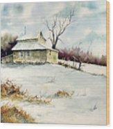 Winter Washday Wood Print