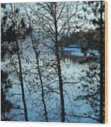 Winter Water Blues Wood Print