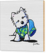 Winter Westie With Lime Wood Print