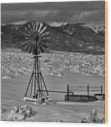 Winter Windmill Wood Print