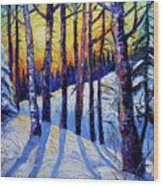 Winter Woodland Sunset Modern Impressionism Palette Knife Oil Painting Wood Print