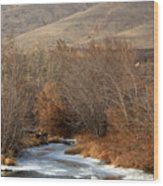 Winter Yakima River With Hills And Orchard Wood Print