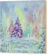 Winter Wonderland Aurora Borealis  Wood Print